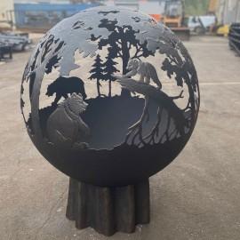 """Кованый зольник с фактурой дерева для уличного очага """"Три медведя"""""""
