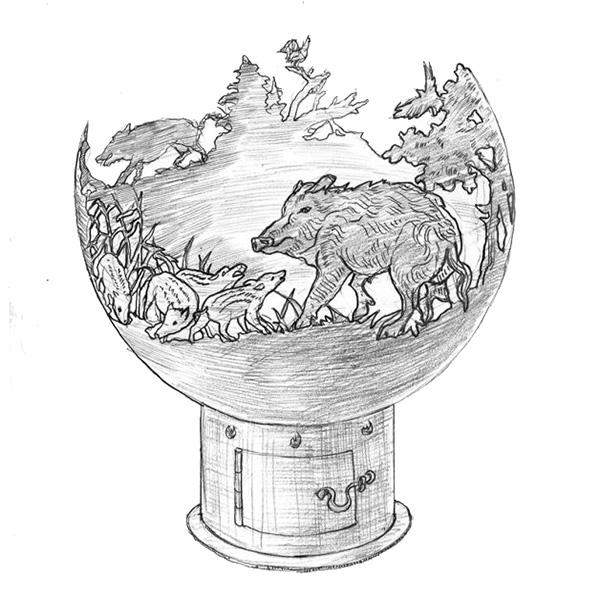 Чаша для костра ''Кабаны''